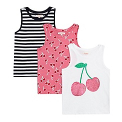 bluezoo - Pack of three girls' assorted cherry print vests