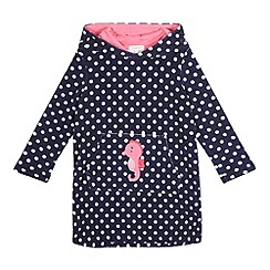 bluezoo - Girls' navy seahorse applique towelling hoodie