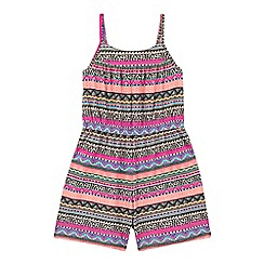 bluezoo - Girls' multi-coloured Aztec-inspired print playsuit