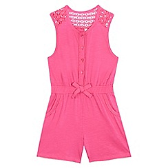 bluezoo - Girls' pink lace playsuit