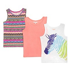 bluezoo - Girls' pack of three assorted zebra print vests