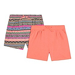 bluezoo - Pack of two girls' multi-coloured printed shorts