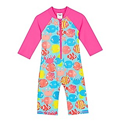 bluezoo - Girls' pink tropical fish sun-safe swimsuit
