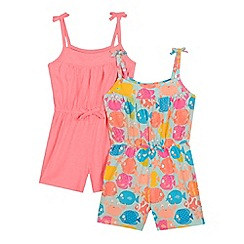 bluezoo - Pack of two girls' pink and multi-coloured fish print playsuits