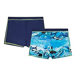 bluezoo - Pack of two boys' navy and blue shark print swimming trunks