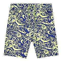 bluezoo - Boys' lime and purple hibiscus print swim shorts