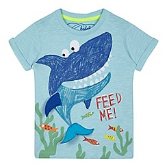 bluezoo - Boys' blue shark applique t-shirt