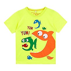 bluezoo - Boys' lime fish applique t-shirt