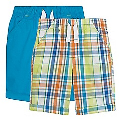 bluezoo - Pack of two boys' blue and multi-coloured checked print shorts