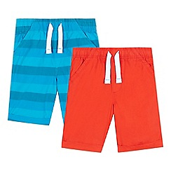 bluezoo - Pack of two boys' red and blue striped print shorts