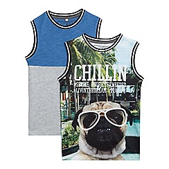 bluezoo - Pack of two boys' multi-coloured printed vests