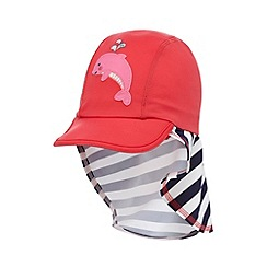 bluezoo - Girls' pink striped dolphin applique keppi hat
