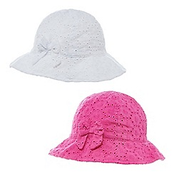 bluezoo - Pack of two girl's pink and white floral cut-out hats