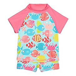 bluezoo - Girls' multi-coloured fish print swim top and shorts set