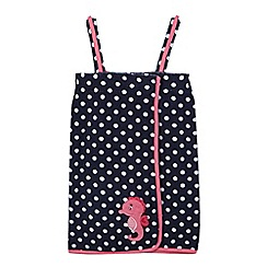 bluezoo - Girls' navy polka dot towel wrap