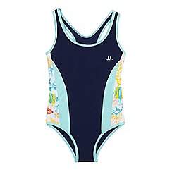 Mantaray - Girls' navy sporty swimsuit