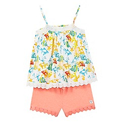 Mantaray - Girls' multi-coloured fish print vest top and orange shorts set