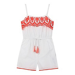 Mantaray - Girls' white embroidered playsuit