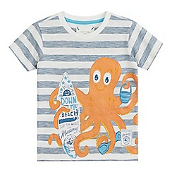 Mantaray - Boys' navy and white octopus applique t-shirt