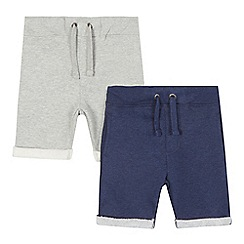 Mantaray - Pack of two boys' grey and navy jersey shorts