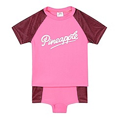 Pineapple - Girls' pink three piece swim set