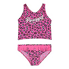 Pineapple - Girls' pink leopard print tankini set