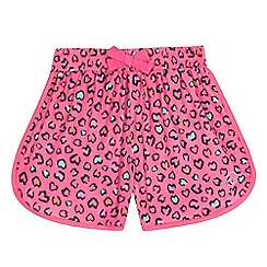 Pineapple - Girls' pink leopard print jersey shorts