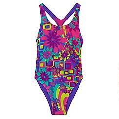 Zoggs - Girls' purple floral print swimsuit