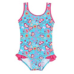 Zoggs - Girls' pink and blue hearts and butterflies print swimsuit