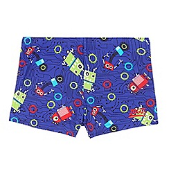 Zoggs - Boys' blue robot print trunks
