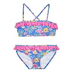 Animal - Girls' blue floral print bikini