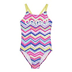 Animal - Girls' pink zigzag striped swimsuit