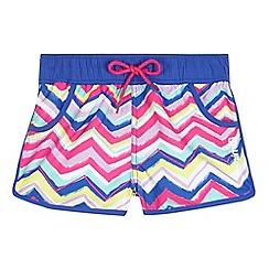Animal - Girls' purple zig zag striped print board shorts