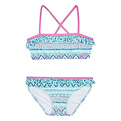Animal - Girls' aqua patterned print bikini
