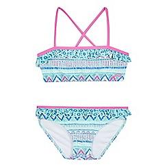 Animal - Girls' aqua patterned print bikini