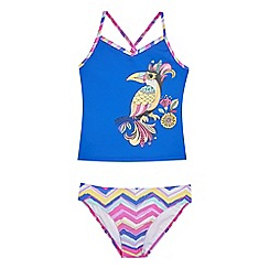 Animal - Girls' purple toucan print tankini