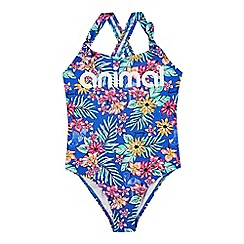 Animal - Girls' blue tropical print swimsuit