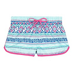 Animal - Girls' turquoise shell striped print board shorts
