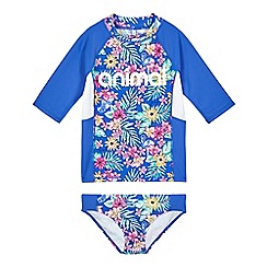 Animal - Girls' blue floral print UPF rash vest and bottoms set