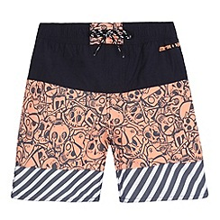 Animal - Boys' navy skull print board swim shorts