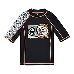 Animal - Boys' black and orange skull print UPF rash vest