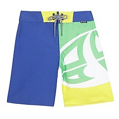 Animal - Boys' blue colour block logo board swim shorts