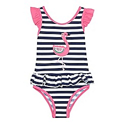 bluezoo - Girls' navy flamingo applique swimsuit
