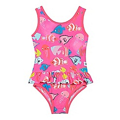 bluezoo - Girls' pink fish print swim suit