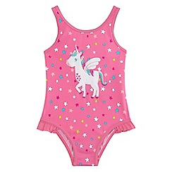 bluezoo - Girls' pink unicorn applique swimsuit