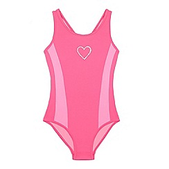 bluezoo - Girls' pink diamante heart swimsuit