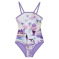 bluezoo - Girls' purple unicorn print swimsuit