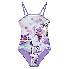 bluezoo - Girls' purple unicorn print swimsuit