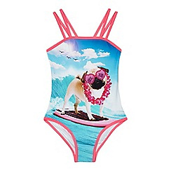 bluezoo - Girls' multi-coloured dog print swimsuit