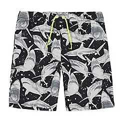 bluezoo - Boys' black shark print swim shorts